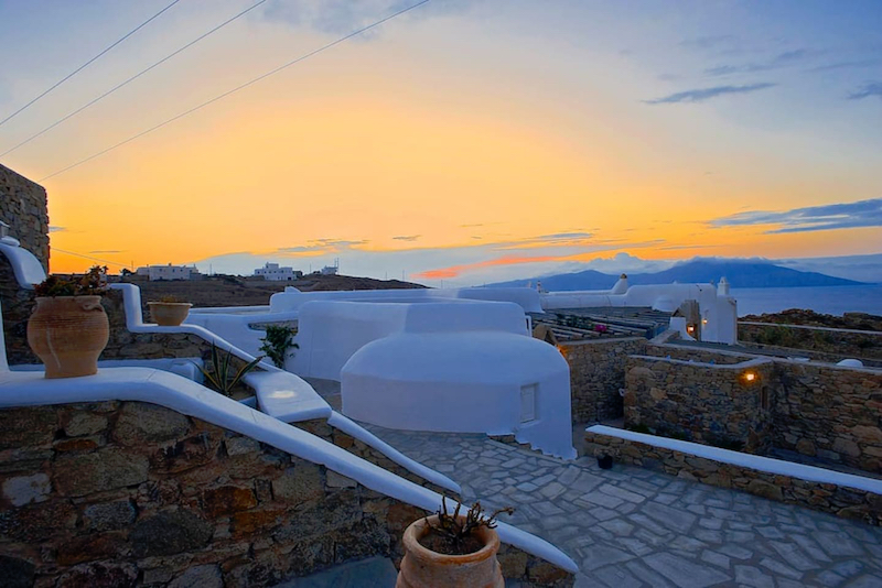 The Happiness Retreat Sunset View from private Villas Yoga Wellness greece