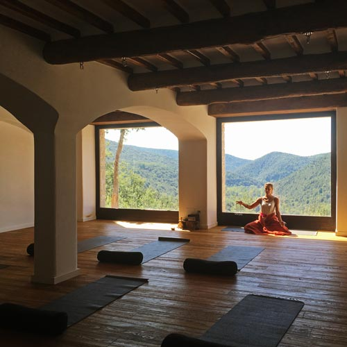 Apostolia Papadamaki practicing yoga in Eremito, Umbria