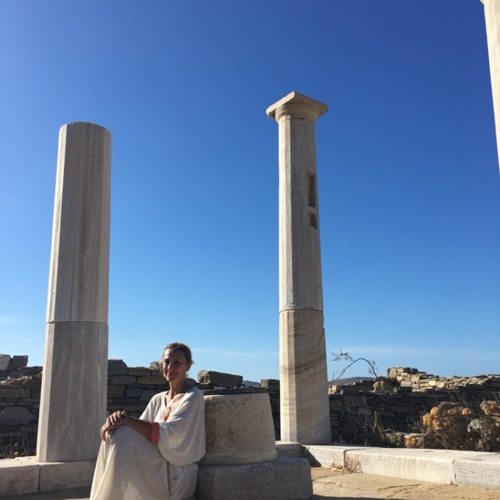 Apostolia in Delos island at the House of Cleopatra October 2018